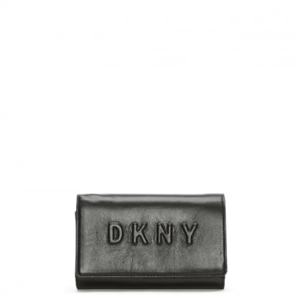 Carryall Medium Black Leather Logo Wallet