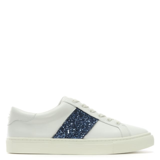 Tory Burch Carter White Leather Glitter Sneakers