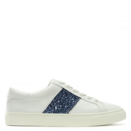 Carter White Leather Glitter Sneakers