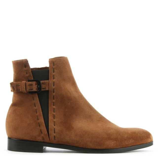Cartland Tan Suede Buckle Back Ankle Boot