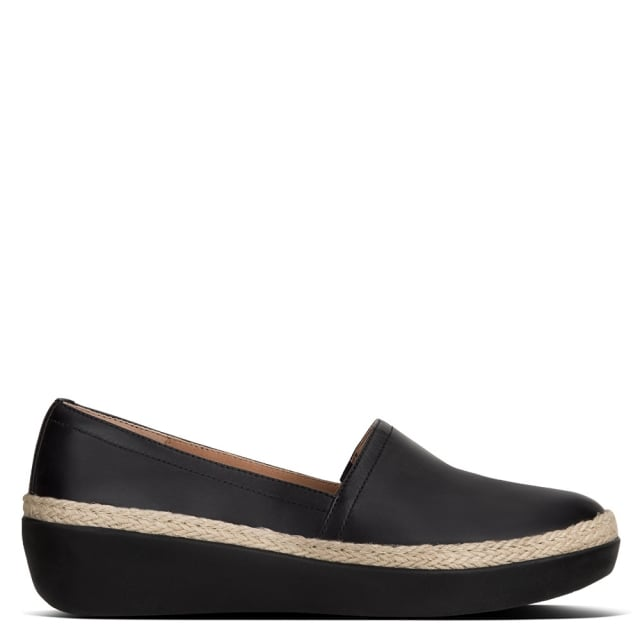 2e66a6c85 FitFlop Casa Black Leather Jute Trim Loafers