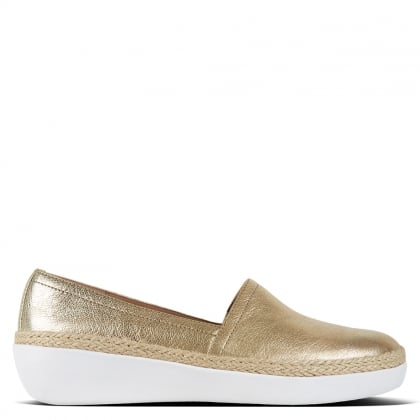 Casa Gold Leather Jute Trim Loafers