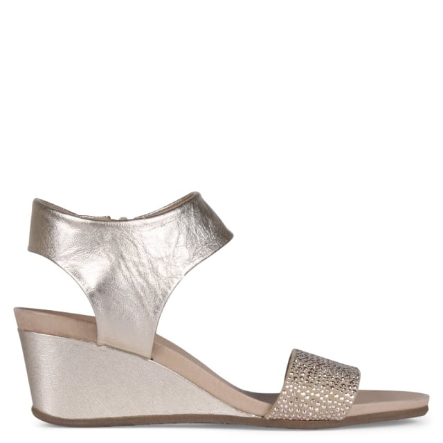 Weekend Casamoro Gold Metallic Leather Low Wedge Sandals