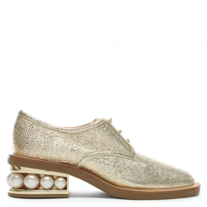 Casati 35 Pearl Gold Metallic Leather Derby Brogues