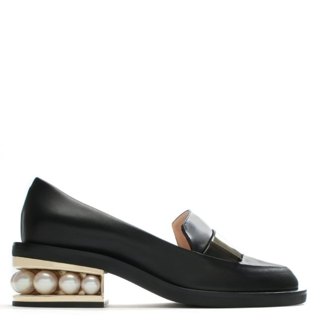 Casati Black Leather Pearl Heel Moccasins