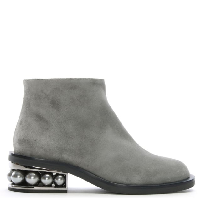 Casati Pearl Grey Suede Ankle Boots