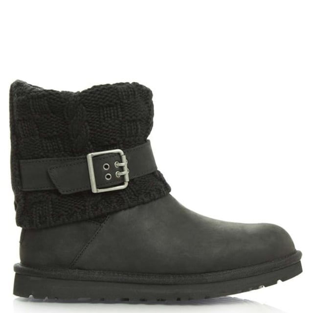 Cassidee Black Suede Cotton Cable Knit Collar Ankle Boot