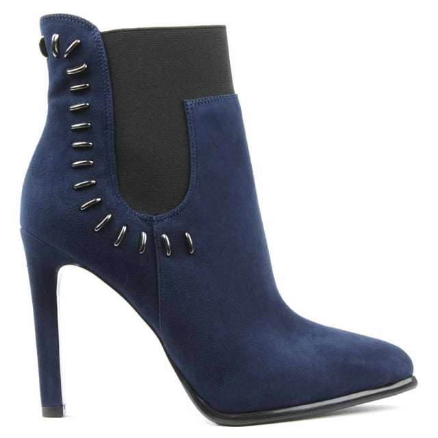 Cassidy Navy Suede Studded Ankle Boot