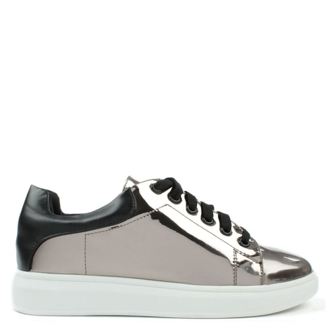 Catalpa Silver Patent Metallic Lace Up Trainer
