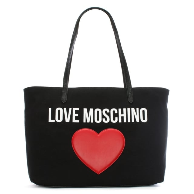 Love Moschino Catherine Black Canvas Logo Heart Shopper