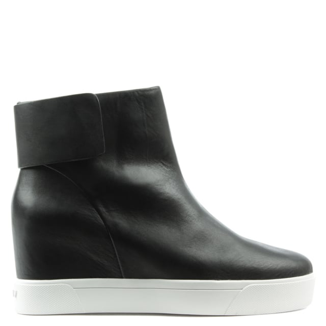 Cathy Black Leather Concealed Wedge Sporty Ankle Boot