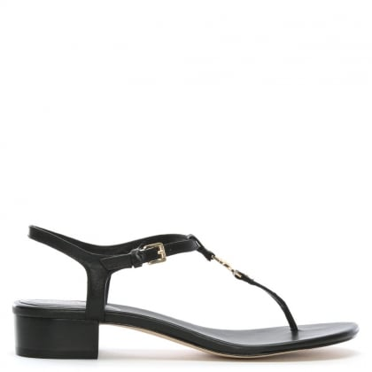 Cayla Black Leather Thong Block Heel Sandals