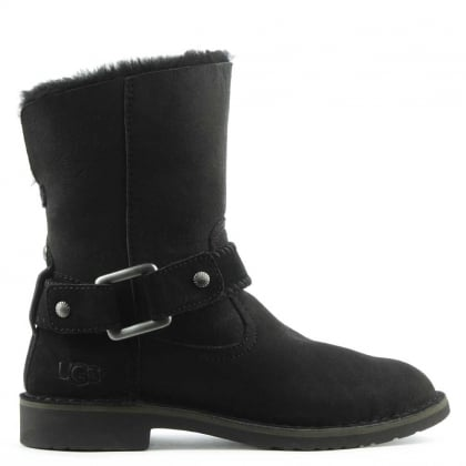 Cedric Black Leather Twinface Cuffed Ankle Boot