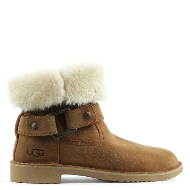 99805b956b7 Cedric Chesnut Leather Twinface Cuffed Ankle Boot