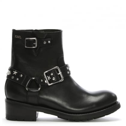 Celestia Black Leather Biker Boots