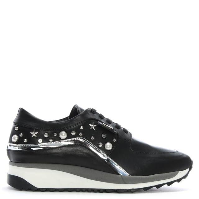 Karl Lagerfeld Celestia Runner Black Leather Trainers