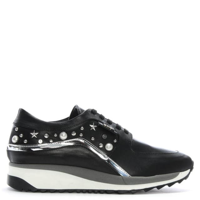 Celestia Runner Black Leather Trainers