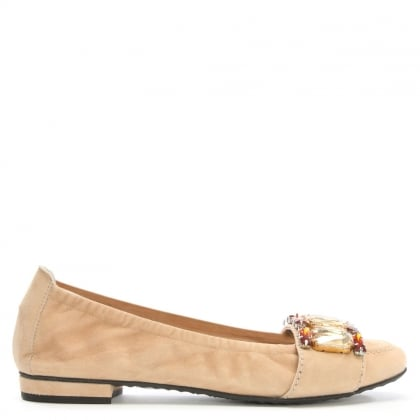 Cervantes Nude Suede Jewelled Pumps