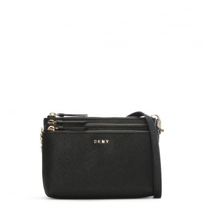 Cesaca Black Saffiano Leather Triple Zip Cross-Body Bag