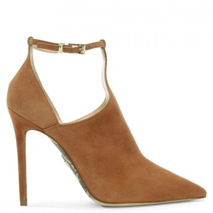 Beige Suede T Bar Heeled Shoes