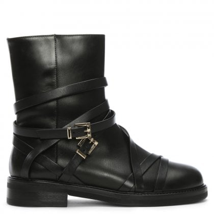 Lux Black Leather Double Buckle Biker Boots