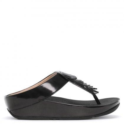 a026830d8 Cha Cha Black Metallic Fringe Toe Post Sandals