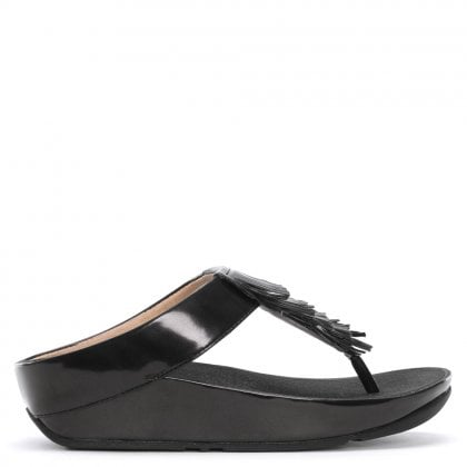05e1ada60ba Cha Cha Black Metallic Fringe Toe Post Sandals