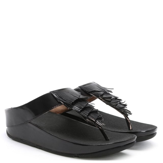 72cc2570d1e5 FitFlop Cha Cha Black Metallic Fringe Toe Post Sandals