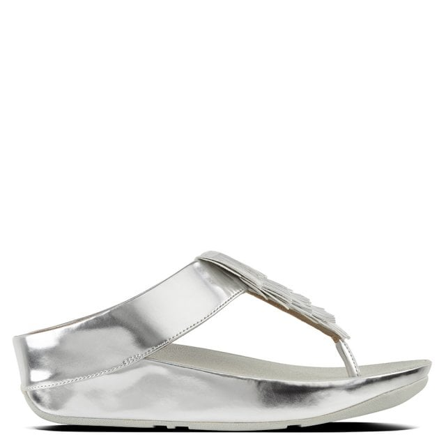 42499edaf8e913 FitFlop Cha Cha Silver Metallic Fringe Toe Post Sandals