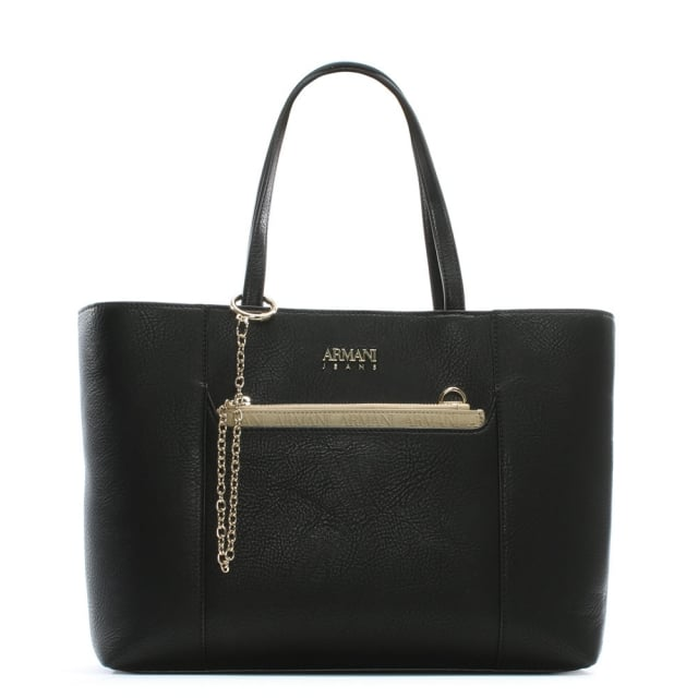 Chain Black Eco Leather Shopper Bag