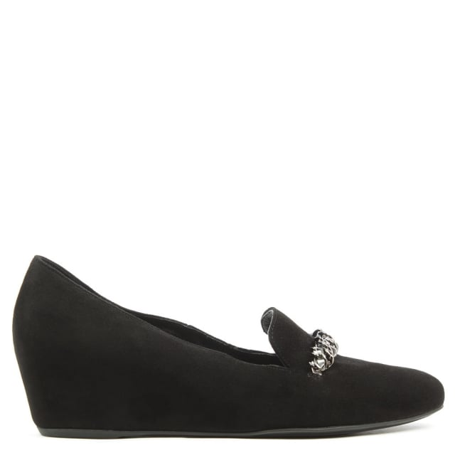 Chain Black Suede Low Wedge Loafer