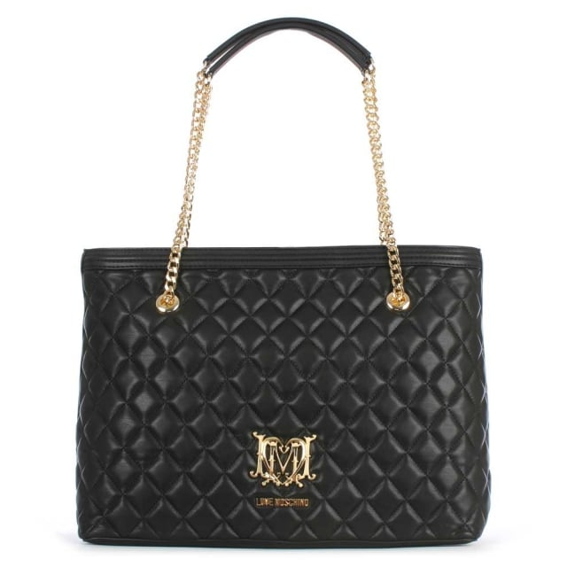 Chain Handle Black Quilted Shopper