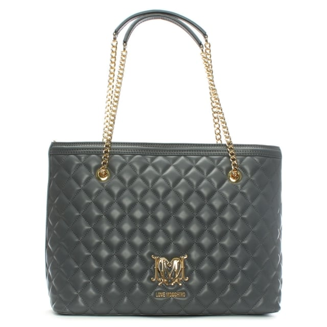 Love Moschino Chain Handle Grey Quilted Shopper