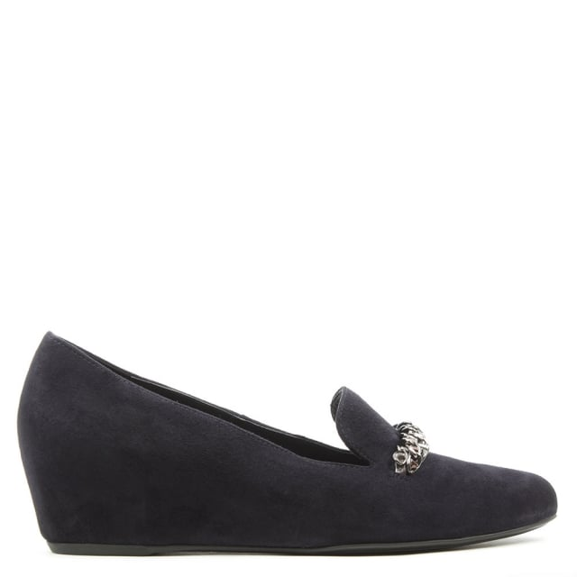 Chain Navy Suede Low Wedge Loafer