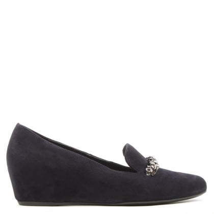 Hogl Chain Navy Suede Low Wedge Loafer