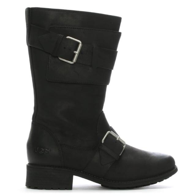 1f56ce810fc Chancey Black Leather Calf Biker Boots