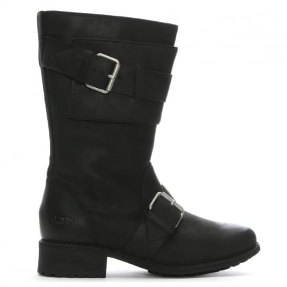 Chancey Black Leather Calf Biker Boots