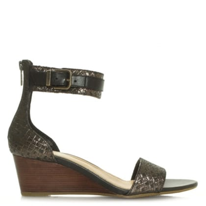 UGG Char Black Vamp and Ankle Strap Wedge Sandal