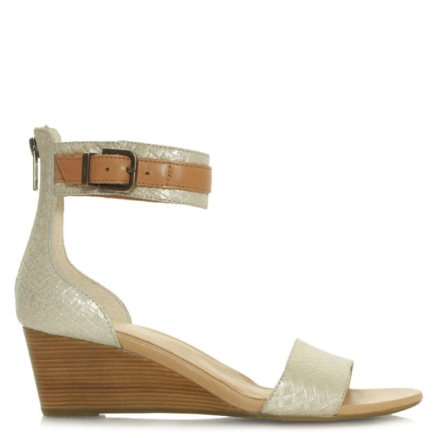 Char Gold Vamp and Ankle Strap Wedge Sandal