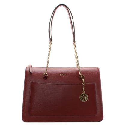 Char Saffiano Scarlet Leather Tote Bag