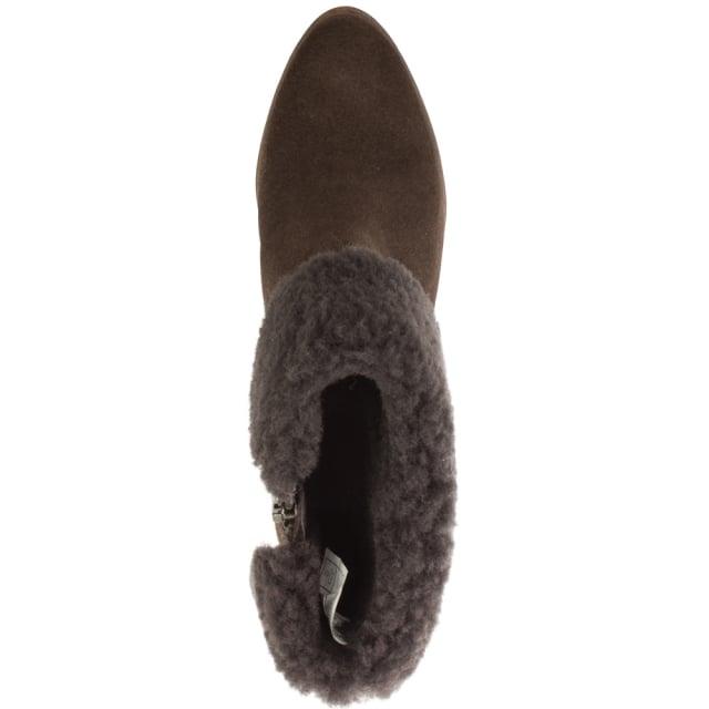 5ed0eeab9fd Charlee Brown Suede Heeled Ankle Boots