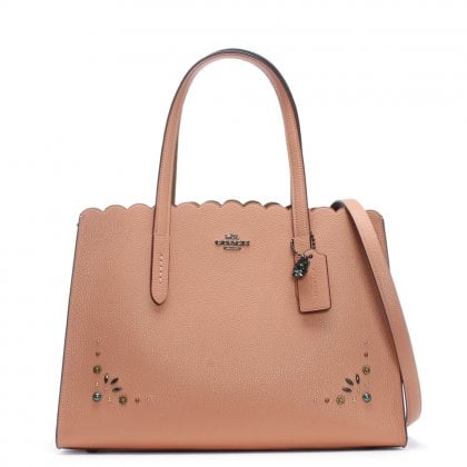 Charlie Carryall Dark Blush Pebbled Leather Prairie Rivet Tote Bag