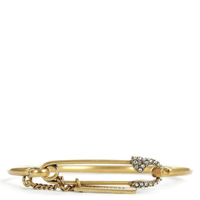 Charms Gold Tone Safety Pin Pave Cuff