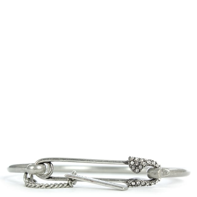 Charms Silver Tone Safety Pin Pave Cuff