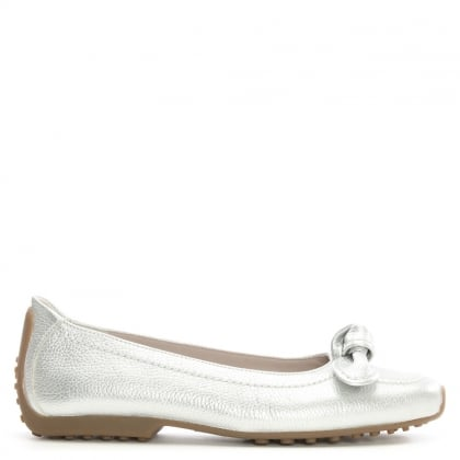 Chavot Silver Leather Bow Ballet Pumps