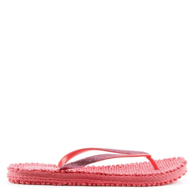 Cheerful Fuschia Glitter Thong Flip Flop