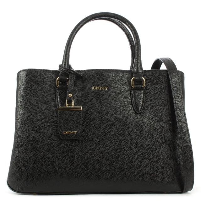 Chelsea Black Leather Structured Shopper