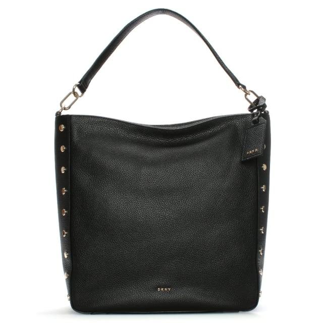 DKNY Chelsea Black Leather Studded Hobo Bag b0fecccf77