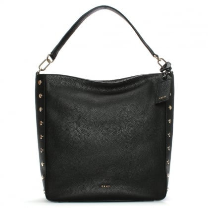 Chelsea Black Leather Studded Hobo Bag