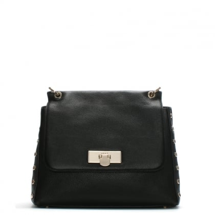 Chelsea Black Leather Studded Shoulder Bag